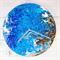 Abstract Acrylic artwork- Land & Sea- Blue, brown, gold- Clock