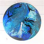 Handmade Clock- Abstract Acrylic artwork- Turquoise Flow- Fathers Day Gift