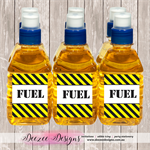 Construction Themed Pop Top Juice Bottle Labels - YOU PRINT