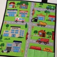~ Take Anywhere Car Playmat with 4 car 'garage' ~ FREE POSTAGE ~ MADE TO ORDER ~