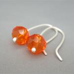 Fanta Orange Sterling Silver Czech Glass Earrings