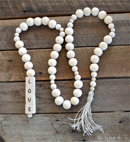 Personalised Name Word Wood Bead Garland Boho Beads Eco-Friendly Personalized