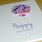 Happy Birthday card - pink and purple balloon