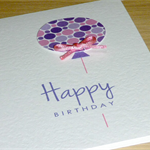 Happy Birthday card - pink and purple balloon