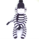 'Cody' the Sock Monkey - navy blue and white stripes - *READY TO POST*