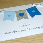 Personalised Boys Christening / baptism / Naming Day Card - Blue Bunting