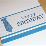 Male Happy Birthday card - blue tie