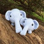 Two Elephant Soft Toys | Amigurumi | Gift | Baby | Hand Crochet | Ready to Post