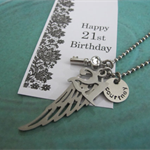 21st birthday gift for her - Handstamped name - personalized 21st Gift