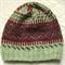 Merino Wool Fairisle Beanie Unisex Green / Burgundy