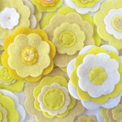 Yellow Felt Flowers Wall Decorations, Girls Bedroom Decor