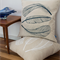 Cushion cover with Three Feather print in navy. 50cm square. Living room decor.
