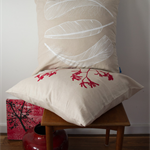 Cushion cover with Three Feather print in white. 50cm square. Modern decor.