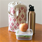 Insulated lunch tote in red Flower Bud design. Lunch carrier bag.