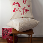 Cushion cover with Kangaroo Paw print in red. 50cm square. Decorative pillow.