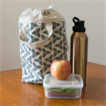 Insulated lunch tote in navy Trefoil design. Adult lunch bag.