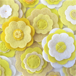 Yellow Felt Flowers Wall Decorations, Girls Bedroom Decor