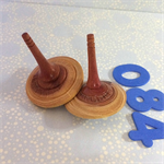 Two Turned Wild Cherry Spinning Tops (Items DF 084a and b)