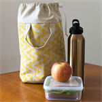 Insulated lunch tote in yellow Trefoil design. Lunch cooler bag.