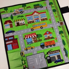 ~ Take Anywhere Car Playmat with 3 car 'garage' ~ FREE POSTAGE ~ MADE TO ORDER ~