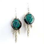 Howlite Spike and Teardrop Statement Earrings woven onto mother of pearl disks