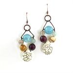 Earthy Tones Semi Precious Stone Earrings with Copper Metal Earring Hooks