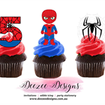 Spiderman Edible Wafer Stand-Up Cupcake Toppers - Set of 16