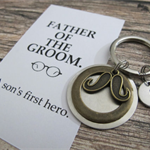 FATHER of the GROOM gift- PERSONALISED  Initial Key Ring.
