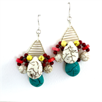 Red Coral, Turquoise and White Howlite Statement Earrings Sterling Silver hooks