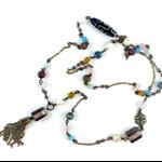 Earthy Tones Semi Precious Beaded Necklace with Bronze Tassel