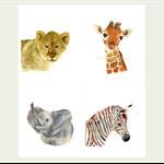 Safari Set of 4 VALUE Prints, A4 Size Nursery Animals