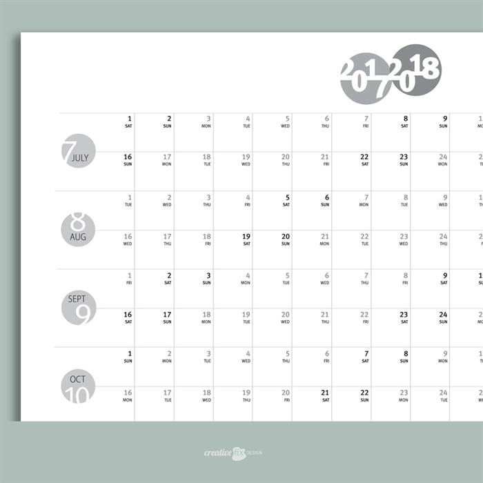 Mid Year Calendar : Printed mid year wall planner calendar