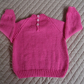 Size 6-12 months hand knitted jumper; pink, girl, washable,