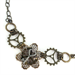 Steampunk Flower Pendant Necklace on Bronze Chain
