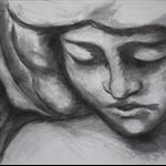 """Original charcoal angel art """"Sariel"""" by April Spadina"""