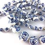 Handcrafted Polymer Clay Long Necklace- blue and white floral