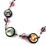 Photobeads altered art long or short adjustable necklace- butterflies and birds