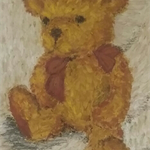 Teddy Bear Painting, 4x6inch art, framed, ready to hang