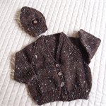 Size 6-12 mths hand knitted cardigan & beanie in brown & mullti colour