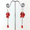 Red coral teardrop earrings with sterling silver hooks