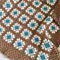 Crochet blanket, wool, coffee, caramel, teal, bedding, unisex