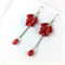 Red coral teardrop earrings with sterling silver hooks