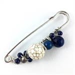 Handcrafted wrap or knit wear pin - semiprecious stones in white and cobalt