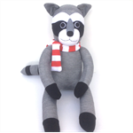 'Russell' the Sock Raccoon - grey with red and white scarf - *READY TO POST*