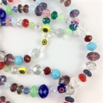 Millefiori, crystal and glass beaded long necklace