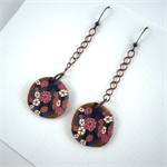 Handcrafted polymer clay earrings- Japanese Sakura floral disks in pink and gold