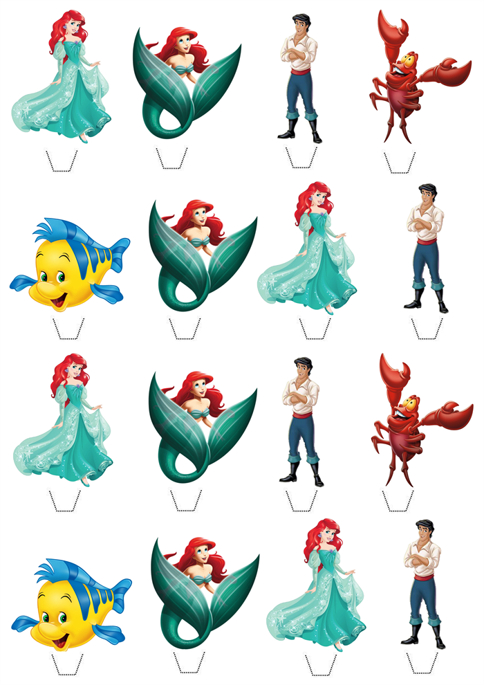 The Little Mermaid Edible Wafer Stand Up Cupcake Toppers Set Of 16