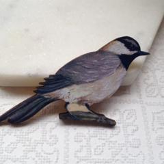Grey Bird Wooden Brooch