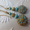 Turquoise Dahlia Czech Picasso Glass, Turquoise Gemstone and Glass Earrings on N