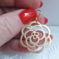 Matt Gold Plated Flat Rose Earrings on Surgical Steel Gold Plated French Hooks